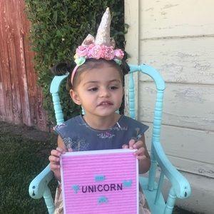 New Unicorn headband with pink & yellow flowers